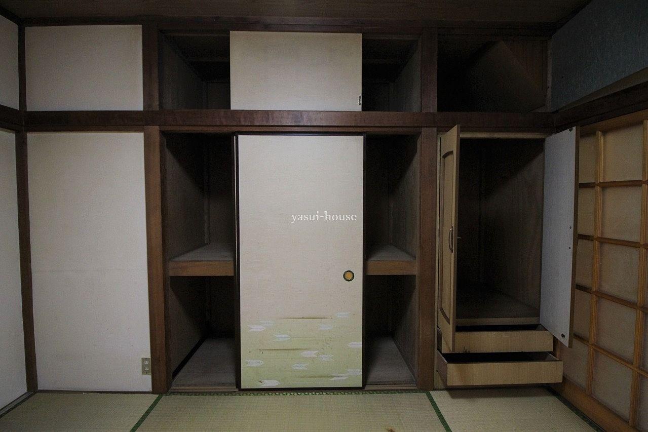 1階和室 天袋付き押入・タンス・天袋の扉を開けた状態