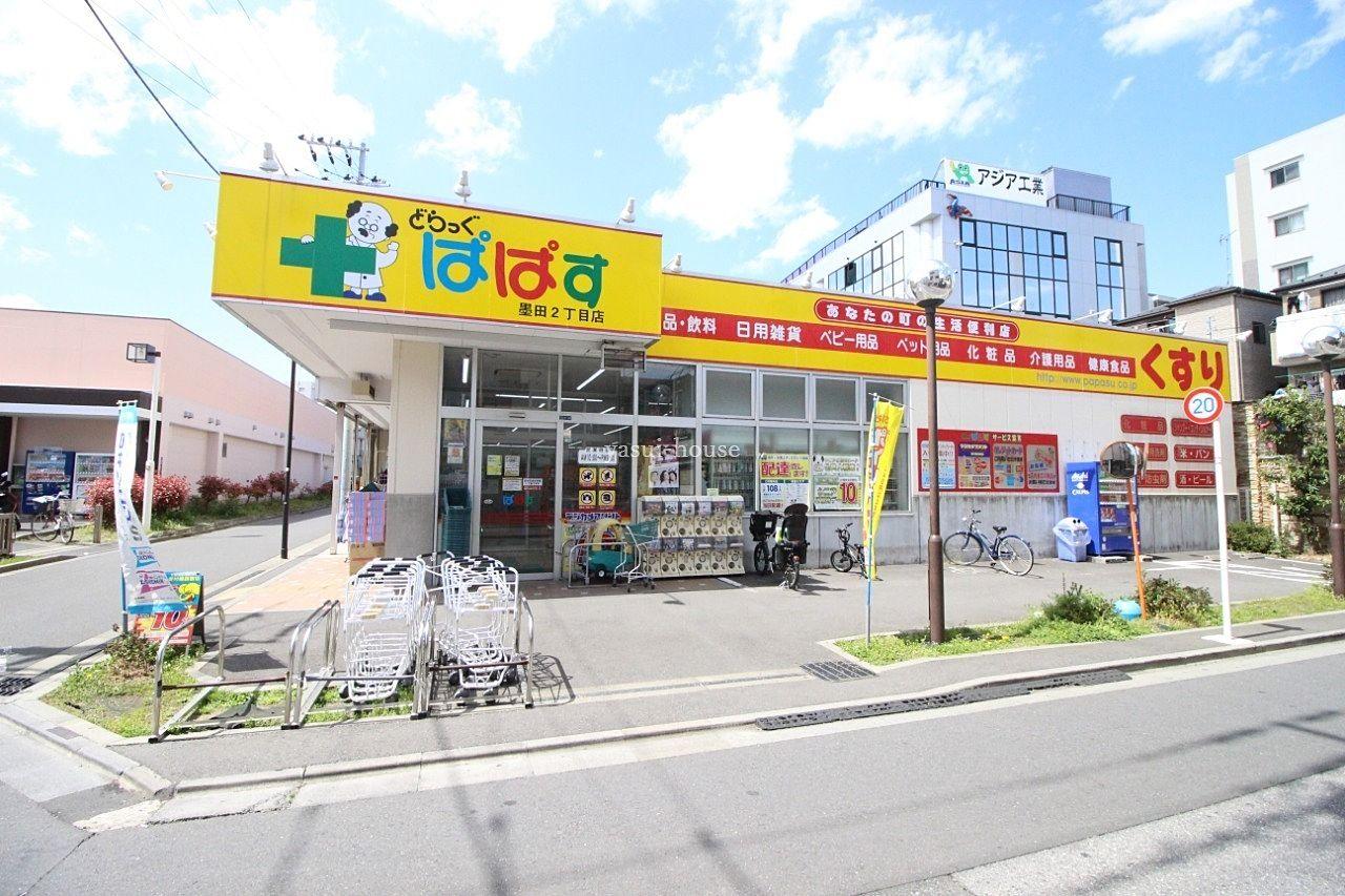 ドラッグストア ぱぱすの左側にはスーパーベルクス墨田店があります