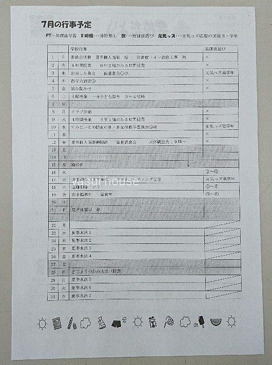 第一寺島小学校の学校だより 裏 令和元年7月1日