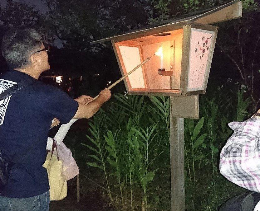 向島百花園 月見の会 絵行灯の点灯